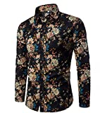 CHENGYANG Uomo Floreale Stampa Camicie Maniche Lunghe Moda Shirts Slim Fit Causal Camicetta Top (Style#12, XL)