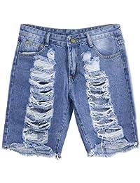 903554d74c FELZ Pantalones Mujer Pantalones Mujer Vaqueros Mujeres Slim Washed Ripped  Hole Short Mini Jeans Denim Pantalones