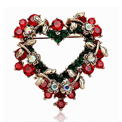 Bluelover Weihnachts-Juwelen Herz Festliches Brooch Pearl Gift Shirt Collar Brooch