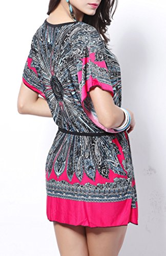 COMVIP -  Vestito  - Floreale - Collo a U  - Maniche corte  - Donna rosa rosso