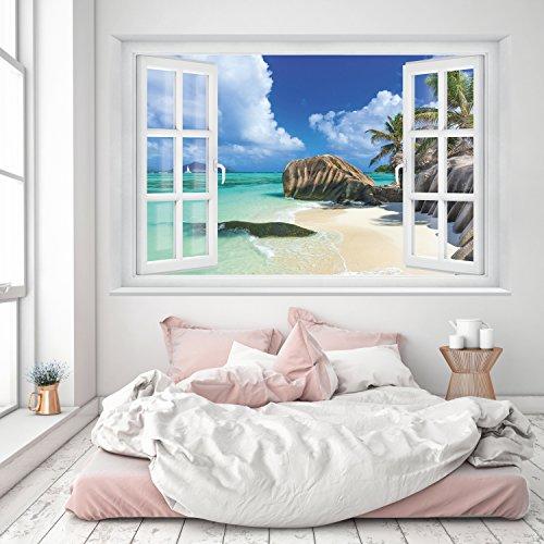 Meer Fenster (Fototapete Strand Fenster 3D 183 x 127cm Ausblick Meer Dünen Ozean Bucht Palmen Tapete inklusiv Kleister 100 % Made in Germany livingdecoration)