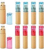 10 Buntstifte Sets mit Spitzer für Kinderparty Geburtstag Hochzeit Restaurant als Mitgebsel Kindergeschenk Gastgeschenke - 6 fröhliche Farben