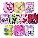 Yafane Baby Lätzchen Wasserdicht Weich 10er Babylätzchen aus Baumwolle mit Klettverschluss für Baby Mädchen Kleinkinder (Mädchen)