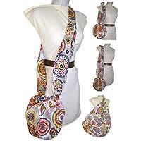 Bolso bandolera de mujer MANDALA, que se hace gigante. Vale para todo, vestir, la playa, la compra, ETC. Exclusivo y patentado. Solo se vende en AMAZON HANDMADE.