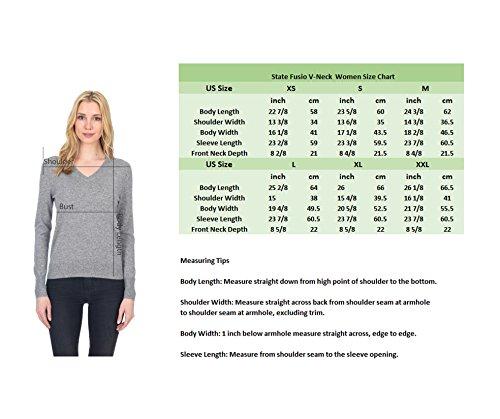 State Fusio Donna cachemire lana cashmere manica lunga manica Pullover V collo V morbido e classico maglione di moda Voilette
