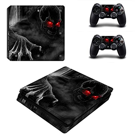 Morbuy PS4 Slim Vinyl Skin Full Body Cover Sticker Decal For Sony Playstation 4 Slim Console & 2 Dualshock Controller (Skull Red