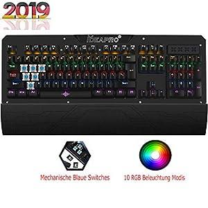 Mechanische Gaming Tastatur rgb mit Abnehmbare Handgelenkauflage (USB-Anschluss, 10 RGB Beleuchtung Modis, Blaue…