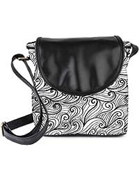 Snoogg Black Pattern Grey Womens Sling Bag Small Size Tote Bag