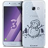 Caseink - Coque Housse Etui Samsung Galaxy A3 2017 (A320) [Crystal Motif HD Collection Noël 2016 Design Bonhomme de Neige - Rigide - Ultra Fin - Imprimé en France]