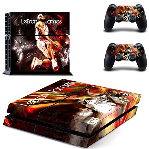 Hambur® PS4 Console Designer Skin for Sony PlayStation 4 System plus Two(2) Decals for: PS4 Dualshock Controller --- NBA LeBron James Cleveland Cavaliers by Hambur - Cleveland Cavaliers-decal