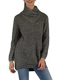 S&LU toller Damen Grobstrick-Pullover mit ausgefallener Kragen-Lösung Größe S/M, M/L