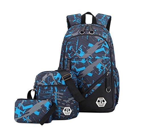 Moceal Rucksack-Set 3-TLG Leinwand Schulrucksack Jungen Rucksack Schultasche mädchen Daypacks Laptoprucksack wasserdicht Schulranzen Schoolbag Herren Backpack 15