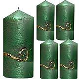 Weihnachten Kerzen Set 4 Stück Stumpenkerzen Adventskerzen 100x50 Dekokerzen Kerzen für Adventskranz Tischkerzen Grün mit Ornament gold andere Farben möglich IW16