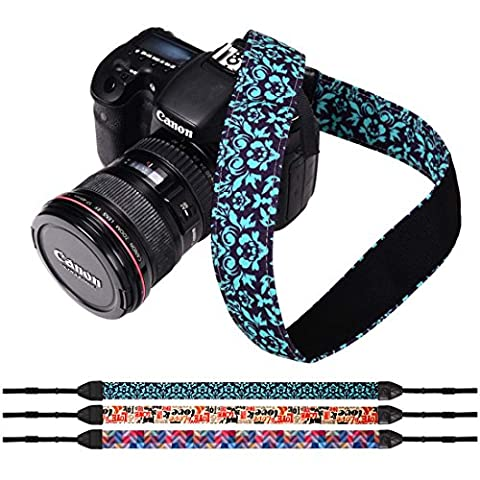 RoryTory 3pc Flower and Quotes Design DSLR Camera Shoulder and Neck Strap Bundle