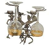 KŸche Geschenk-PrŠsentation poliertem Metall Weinflasche Kerzenhalter aus Glas