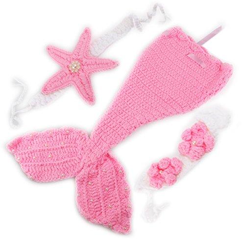 Foxnovo Mermaid Style Baby Hand gestrickte häkeln Kostüm Baby Fotografie Requisiten Set