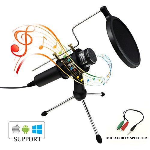 Zexuan USB Condensator Mikrofon, PC und Handy Mikrofon mit 3.5mm Plug & Play linke Aufnahme Podcast Vocal Aufzeichnung Mikrofone für Voice Aufnahmen, Live Periskop, Chatten, Handys, Youtube, Facebook (Mac Mini Benutzerhandbuch)