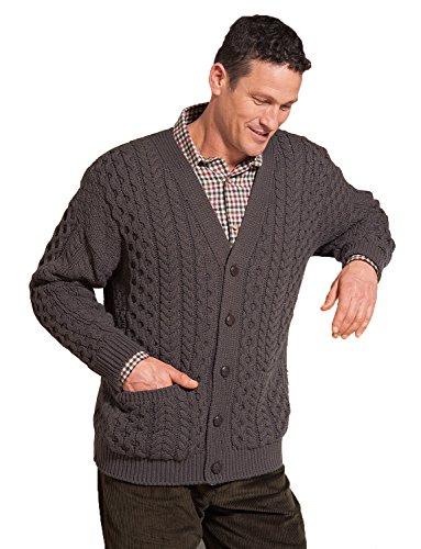 Hommes Aran Style Knitwear Cardigan Marron