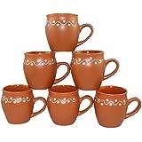 Odishabazaar Brown Ceramic Kulhad Cups Set Of 6 - For Kitchen/Dinning Set/Mugs/Ethnic Tea Coffee Mugs/Gift Items (#52d)