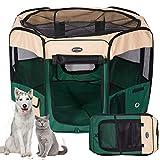 KaKa Mall Welpenlaufstall für Hunde Faltbar Laufstall Hund Waschbar Tierlaufstall für Hunde Katzen 8 Plattens (XL:8pcs,pro Paneel 61 * 99cm,Durchmesser:155cm, Grün)