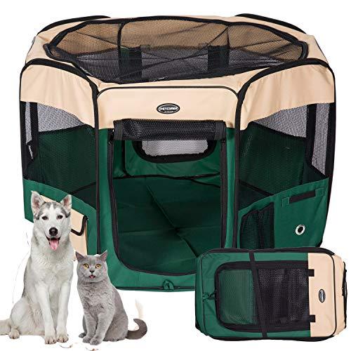 Kaka mall Box per Cani Gatti Conigli 8 Pannelli Pieghevole da Interno e Esterno Recinto per Animali Piccolo Grande Portatile Resistente con Copertura e Borsa Trasporto Rapido da Montare (Verde, M)