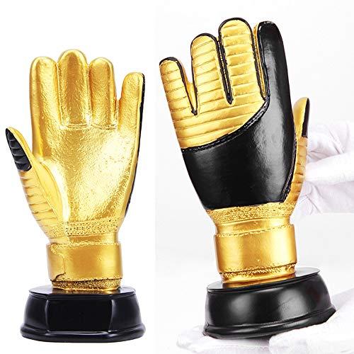 QSBY Gold Handschuhe Trophäe Handwerk Modell Fußballspiel Cup Fußball Replik Fans von Geschenkharz Fußballfan Souvenir kann Galvanik angepasst Werden,B