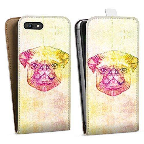 Apple iPhone X Silikon Hülle Case Schutzhülle Mops Dog Hund Downflip Tasche weiß