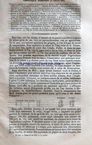 JOURNAL DE L'AGRICULTURE [No 432] du 21/07/1877 - CHRONIQUE AGRICOLE - VOYAGE EN ANGLETERRE A LÔÇÖOCCASION DU CONCOURS DE LA SOCIETE ROYALE DÔÇÖAGRICULTURE A LIVERPOOL - ASPECT DE LA VILLE PENDANT LE CONCOURS - AFFLUENCE DES VISITEURS - ASPECTS GENERAL ET PREMIERES IMPRESSIONS DE LÔÇÖEXPOSITION - LES COUPES DÔÇÖHONNEUR POUR LE BETAIL - RECOMPENSES SPECIALES POUR LES MACHINES AGRICOLES - RESULTATS DES CONCOURS DE LA PRIME DÔÇÖHONNEUR - LA PRODUCTION FOURRAGERE EN ANGLETERRE ET EN FRANCE - NOUV