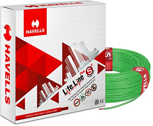 Havells Life Line Plus S3 0.75 sq mm PVC HRFR Cable (Green)