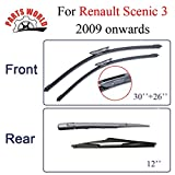 RAISSER® Windscreen Front/Rear Wiper Arm and Blades for Renault Scenic/Grand 3 2009 Onwards Windshield Brush Car Accessories