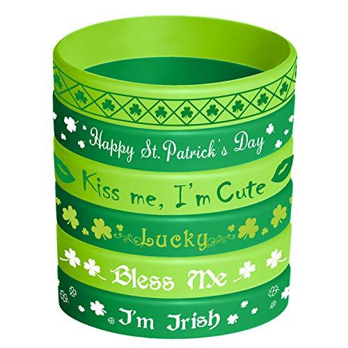 TUPARKA St. Patrick's Day Gummiarmbänder Silikon Shamrock Irish Armband Armband für Party Favors Kinder Schule Geschenke Liefert, 36 Stück 6 Styles