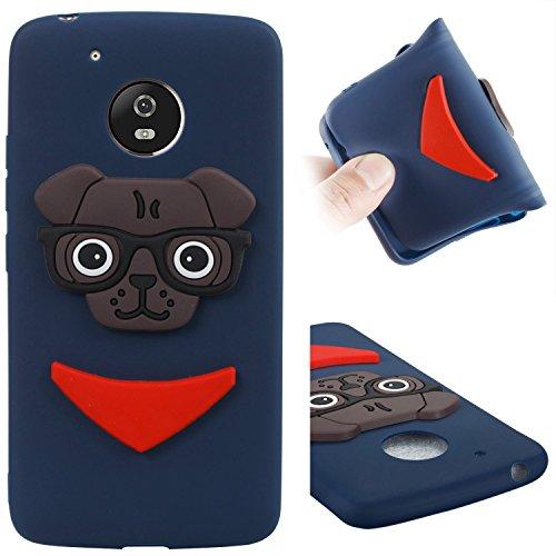 Hülle für Moto G5, ZXK CO Weich TPU Silikon Handyhülle 3D Cartoon Brille Welpe Muster Handytasche Anti-Kratz Rutschfeste Schutzhülle Back Cover Case für Motorola Moto G5-Dunkelblau