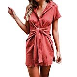 IMJONO Bluse Damen elegant Frauen Spitze Mode Vintage,Frauen-Feste dünne Knopf-beiläufige Arbeits-Büro-Krawatten-Hemd-Kurzarmbluse RD / 2XL(XX-Large,Rot)