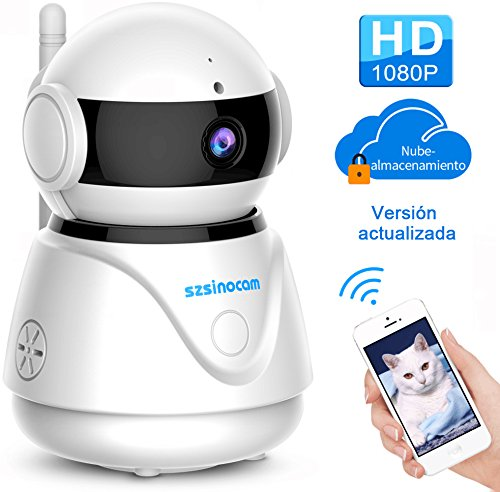 IP cámara WiFi,cámara IP Szsinocam cámaras de vigilancia wifi interior HD 1080P P2P IR Visión Nocturna Detección de Movimiento,Seguridad para casa,CCTV Sistema Seguridad para el hogar/ bebé / mascotas