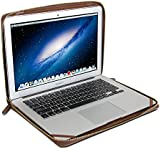 GMYLE Book Case Vintage for MacBook Air 13 inch / MacBook Pro 13 inch - Brown Crazy Horse Pattern PU Leather Zipped Sleeve (Not Fit For Retina Macbook Pro 13)