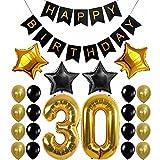 23pcs/lot de 30/40/50/60ans d'anniversaire décorations Décorations de fête d'anniversaire des Ensembles Guirlande fanions Or Nombre Balloon Party Deco 23pcs 30th