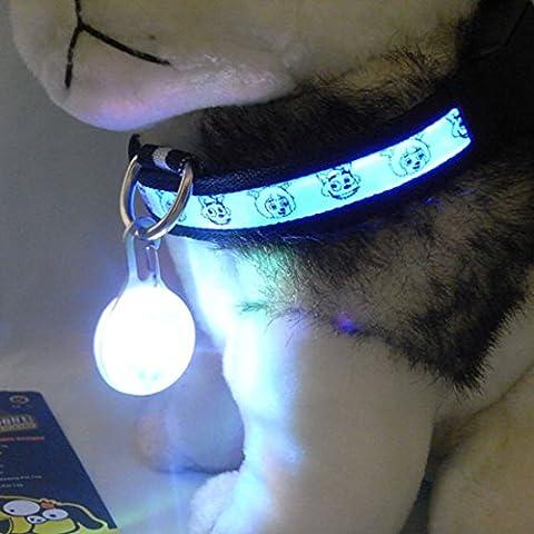 Médaille LED Lumineux Pendentif de Collier pour Animaux Chien Chat-Crème