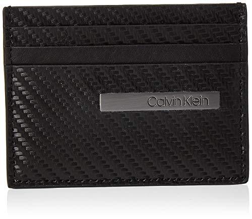 Calvin Klein Herren Carbon Leather Cardholder Schultertasche, Schwarz (Black), 1.9x12.4x9.5cm