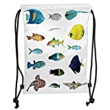 Custom Printed Drawstring Sack Backpacks Bags,Ocean Animal Decor,Marine Life Creatures with Cardinalfish Clownfish Stingray Fauna Sea Theme,Multi Soft Satin,5 Liter Capacity,Adjustable String Closure,