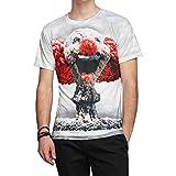 West See Herr Mann Designs Lion Löwen T-Shirt 3D-Druck beiläufige Hemd Bluse Kurzarm (EU XL, Clown)
