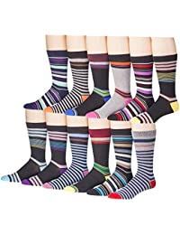 12 Pairs of excell Mens Striped Colorful Dress Socks, Cotton Blend, #2800