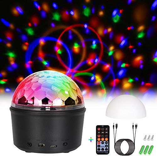 Discokugel LED Party Lampe, URAQT 9 Farbe LED Party Licht mit Mini Bluetooth Musik & Weißen Kappe für Kinder, Kinderzimmer, Partei, Geburtstagsfeier, DJ, Bar, Karaoke, Weihnachten, Hochzeit, Club, Pub