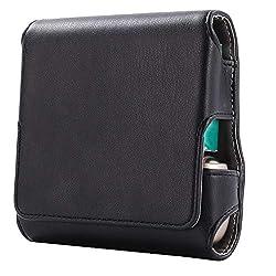 DrafTor E Zigarette Tasche, PU Leder Zigarettenetui für IQOS 3.0 mit Magnetabdeckung (nur Tasche)(schwarz)