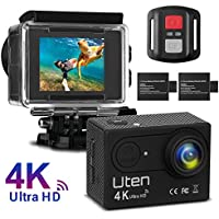 Action Camera, Uten 16MP 2.0 LTPS WiFi Waterproof Sport Camera with 170 Degree Wide View Angle,Two 1050mAh Rechargeable Batteries,Remote Control for Bicycle Motorcycle Ski Diving Snorkeling