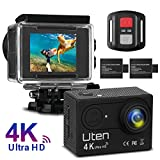 Action Kamera Sport Cam Uten 4K Wifi Camera 16MP Ultra Full HD Unterwasserkamera Helmkamera 170 Ultra-Weitwinkel Wasserdicht mit 2 Batterien, Fernbedienung und kostenlose Accessoires