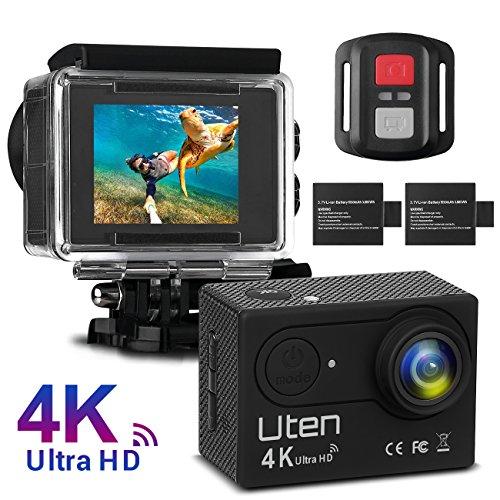 Action Kamera Sport Cam Uten 4K WIFI Camera 16MP Ultra Full HD Unterwasserkamera Helmkamera 170 Ultra-Weitwinkel Wasserdicht mit 2 Batterien, Fernbedienung und kostenlose Accessoires