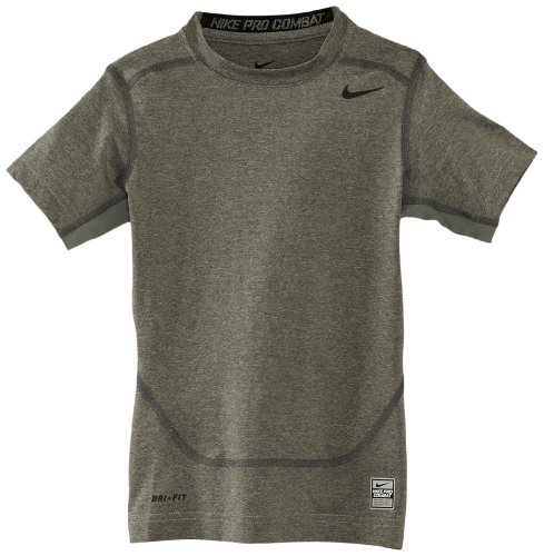 Nike Jungen Athletic Shirt (Nike Jungen Unterwäsche Pro Core Compression Short Sleeve Top Junior, Carbon Heather/Black, M, 522801-021)