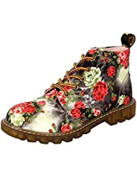 hot sale online 38ffc 9c2ff VEMOW Shop Women Floral Print Boots New Ladies Soft Flat Ankle Shoes Female  Lace-Up