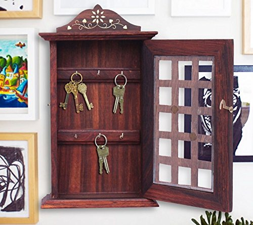 mothers-day-unique-gift-wooden-key-box-chex-inlay-work-key-holder-key-hanger-