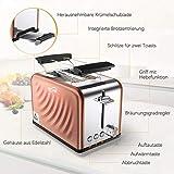 Housmile Edelstahl Toaster für 2 Brotscheiben, Frühstück Sandwichtoaster mit herausnehmbarer Krümelschublade und 6 Bräunungsstufen, abnehmbarer Brötchenaufsatz und praktische Hebefunktion, Bronze - 3